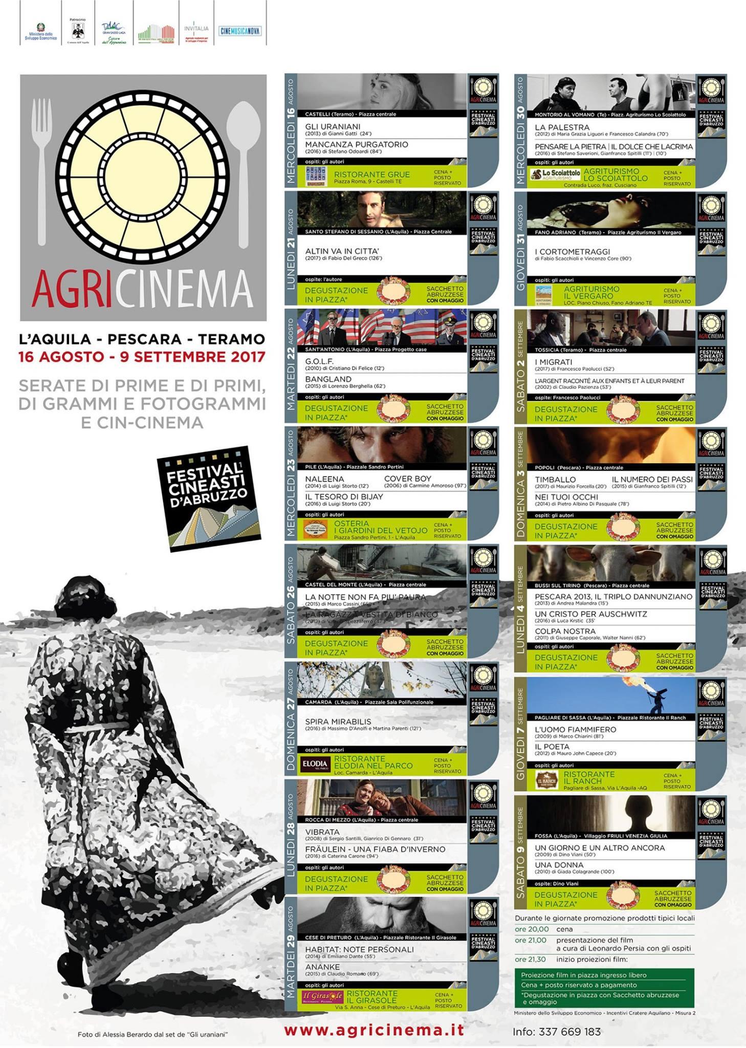 Agricinema Festival del cinema d'Abruzzo, tre imperdibili serate