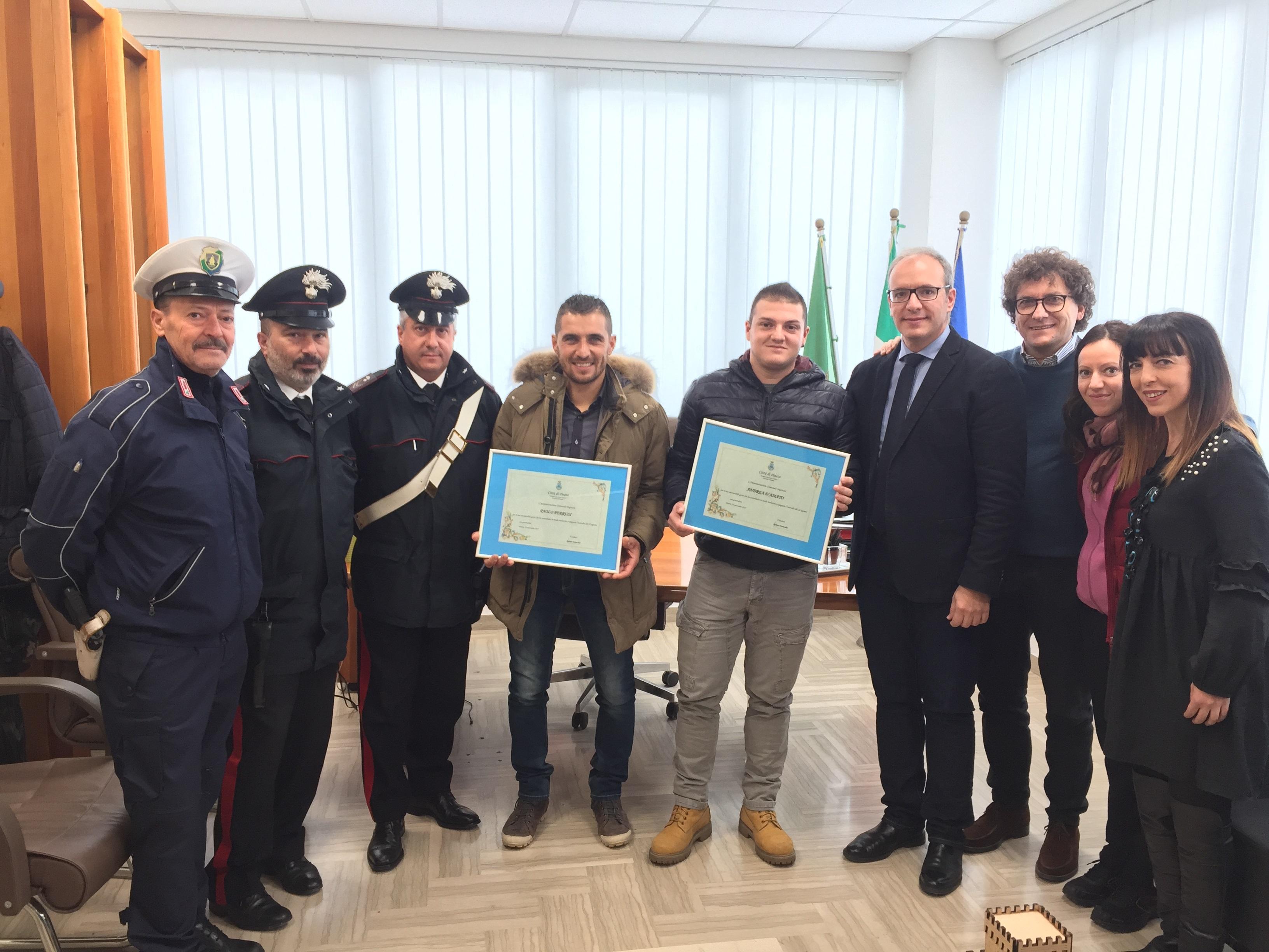 Motociclismo, Patacca e Ponzio ricevono i riconoscimenti dell'amministrazione di Pineto