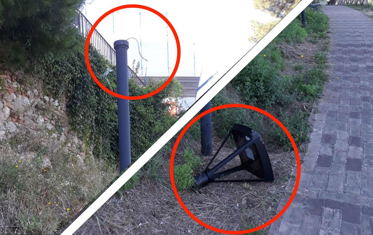Vandali a Montesilvano Colle: rotte le nuove lampade a led