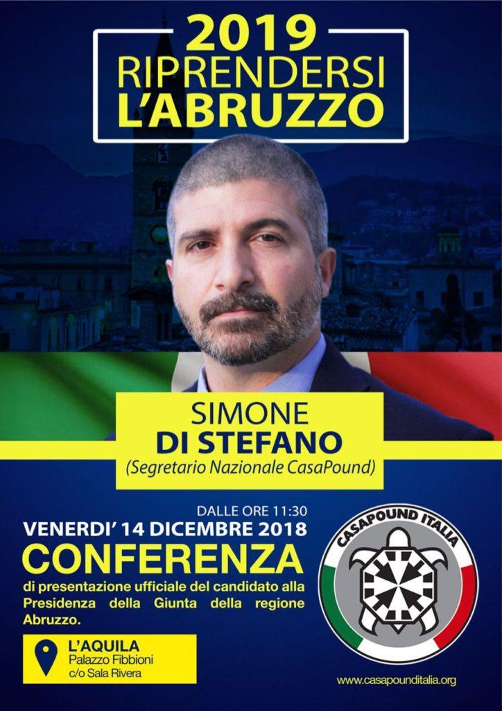 Regionali: il segretario di Casa Pound Italia, Simone Di Stefano in Abruzzo
