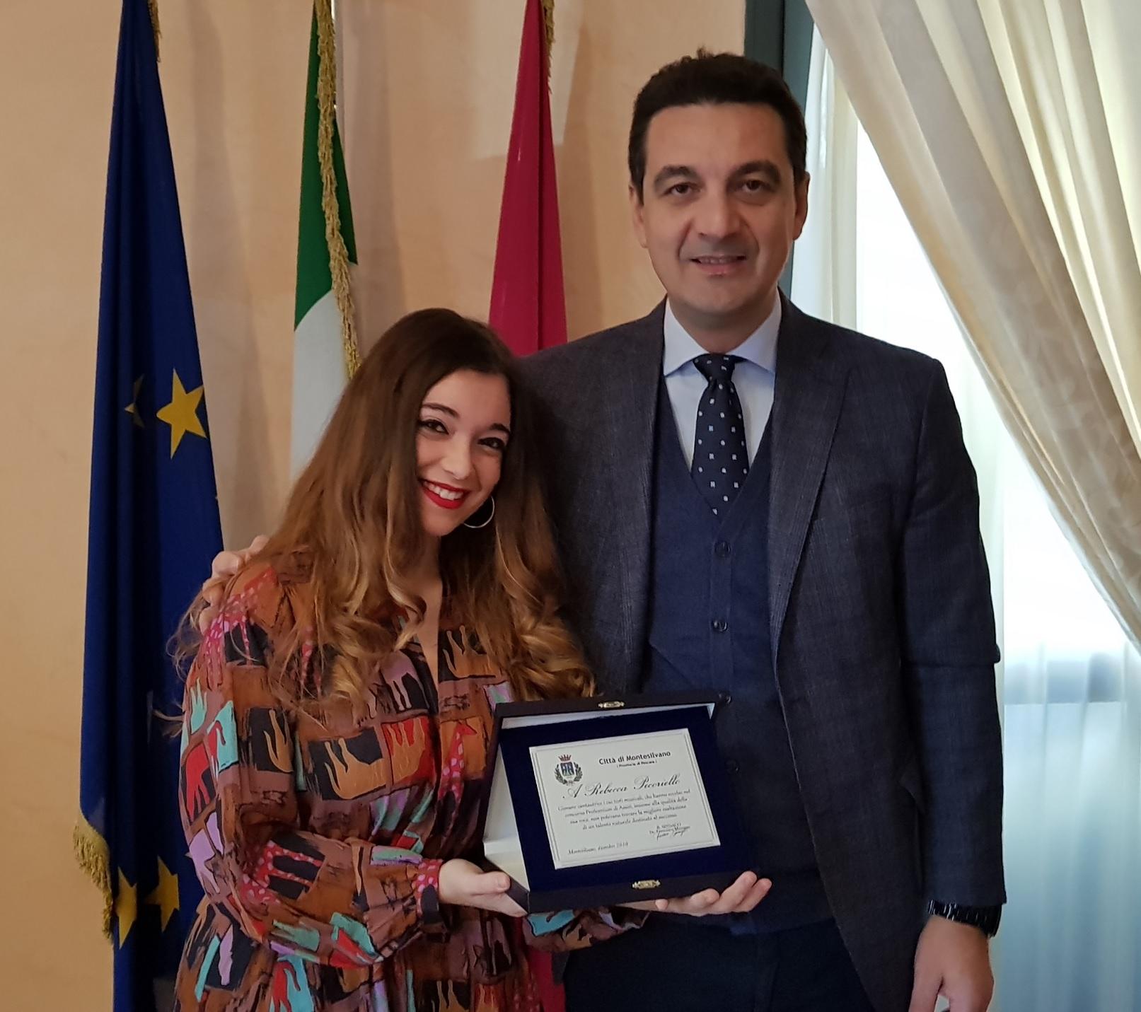 Montesilvano,premia Rebecca Pecoriello, astro nascente della musica italiana