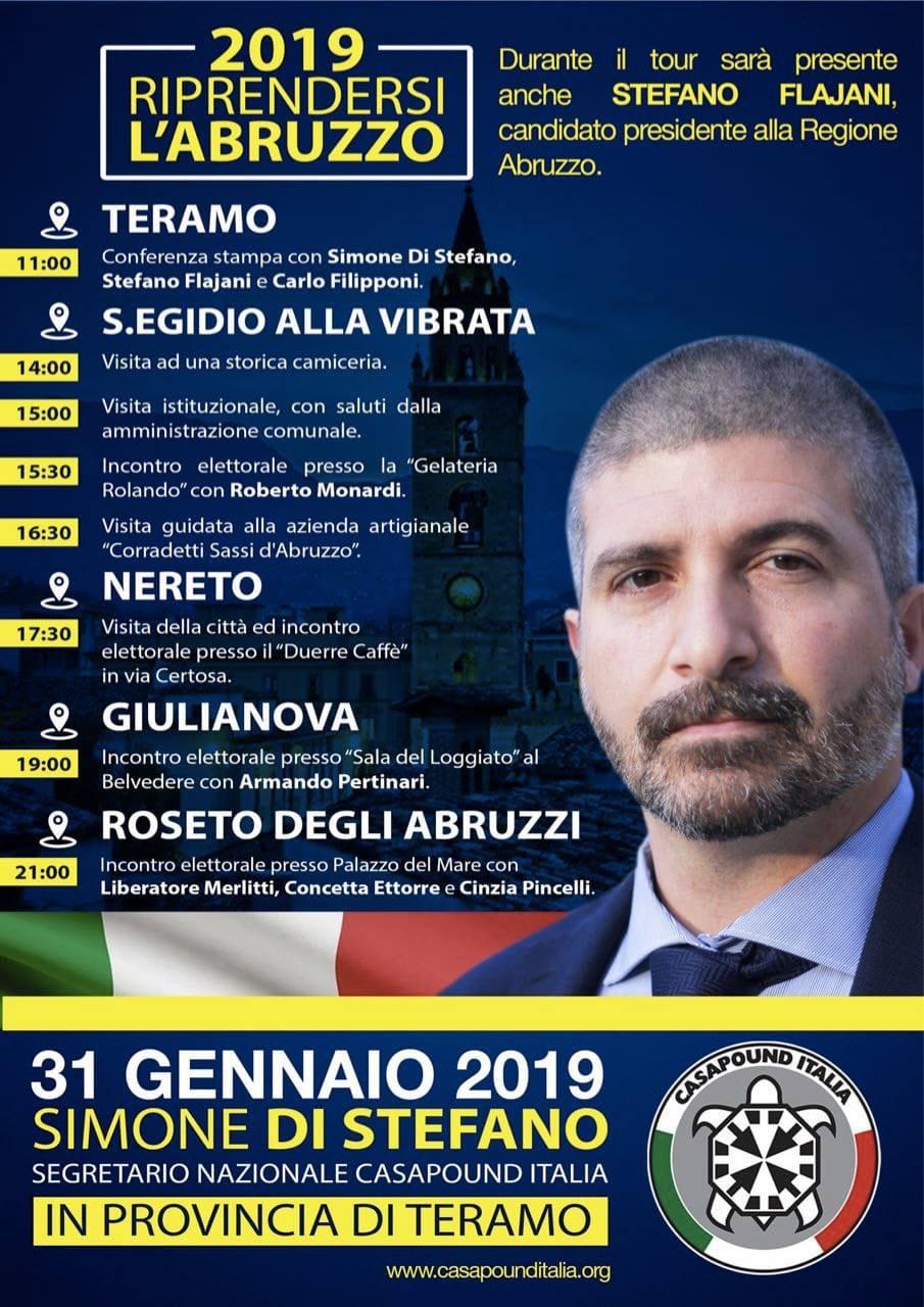 Regionali, Di Stefano (CasaPound) fa tappa in diversi Comuni teramani