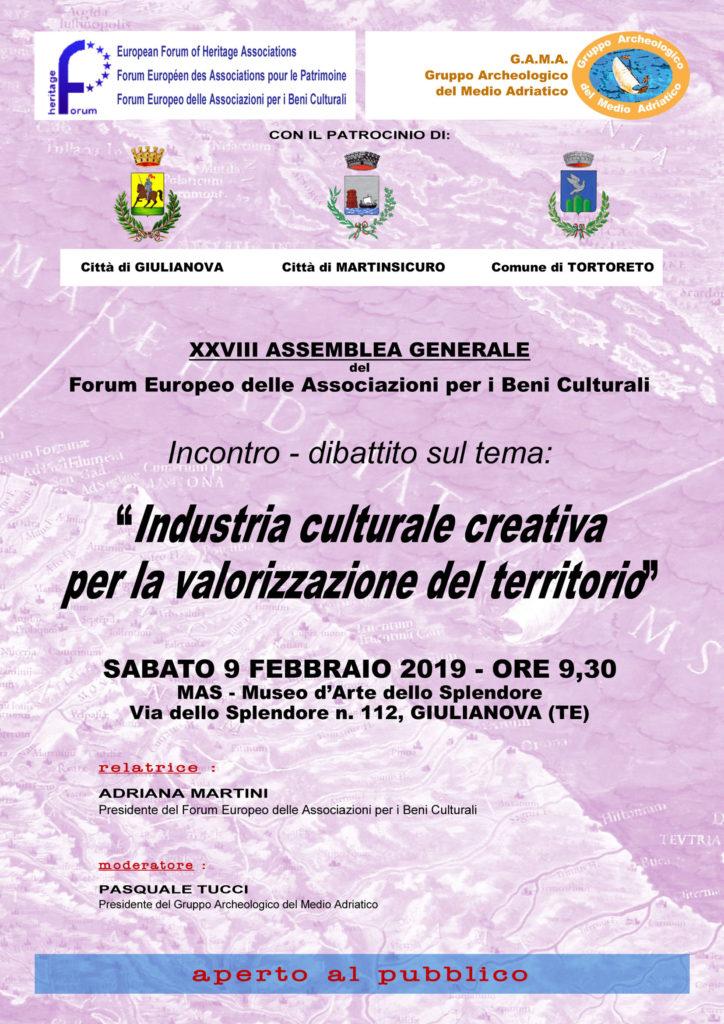 """A Giulianova incntro-dibattito """"Industria culturale creativa per la valorizzazione del territorio"""""""
