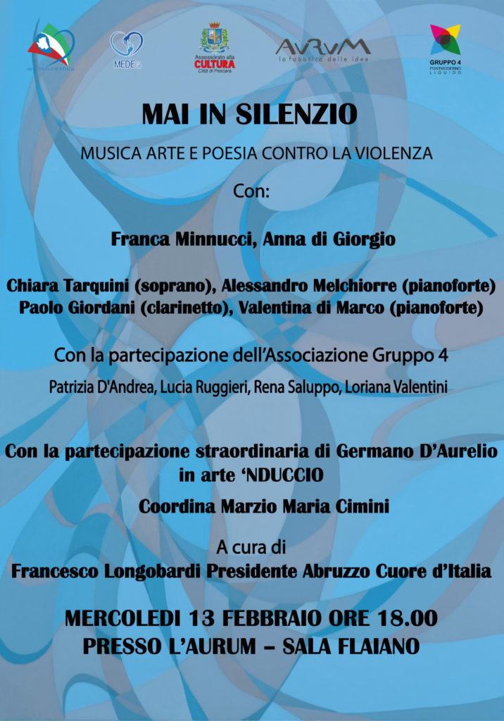 """Pescara, """"Mai in Silenzio"""" a cura di Abruzzo Cuore d'Italia"""