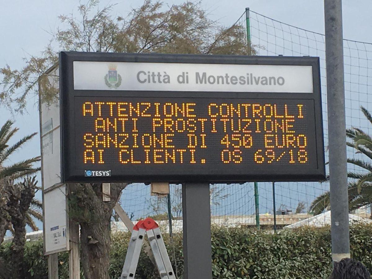 Controlli anti prostituzione, tre clienti multati a Montesilvano