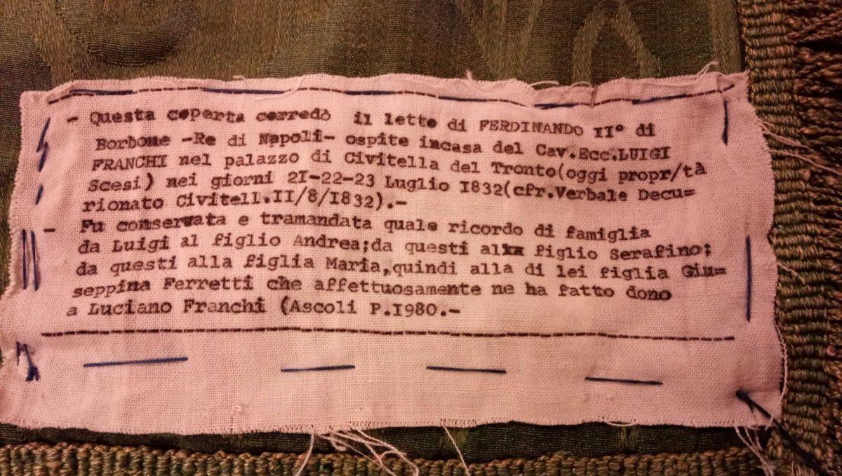 Al museo Nact di Civitella in esposizione la coperta di Ferdinando II