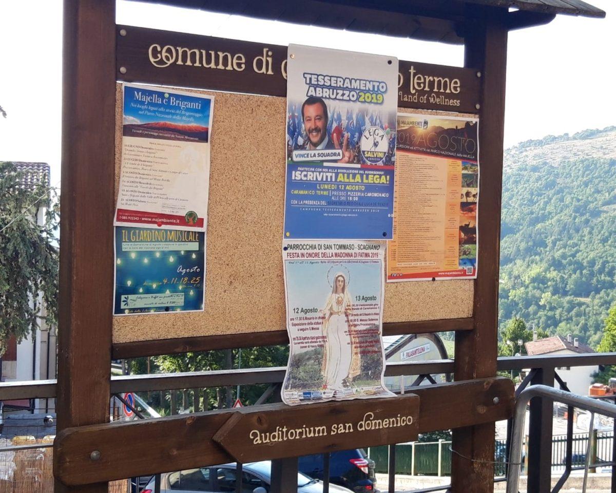 Caramanico, l'invito a iscriversi alla Lega affisso alla bacheca comunale