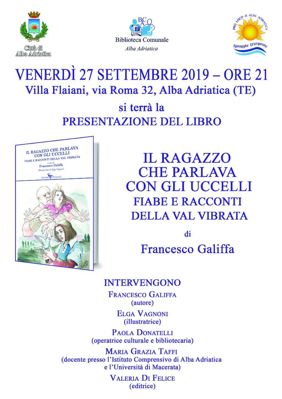 """Alba Adriatica, presentazione libro """"Il ragazzo che parlava con gli uccelli. Fiabe e racconti della Val Vibrata"""""""