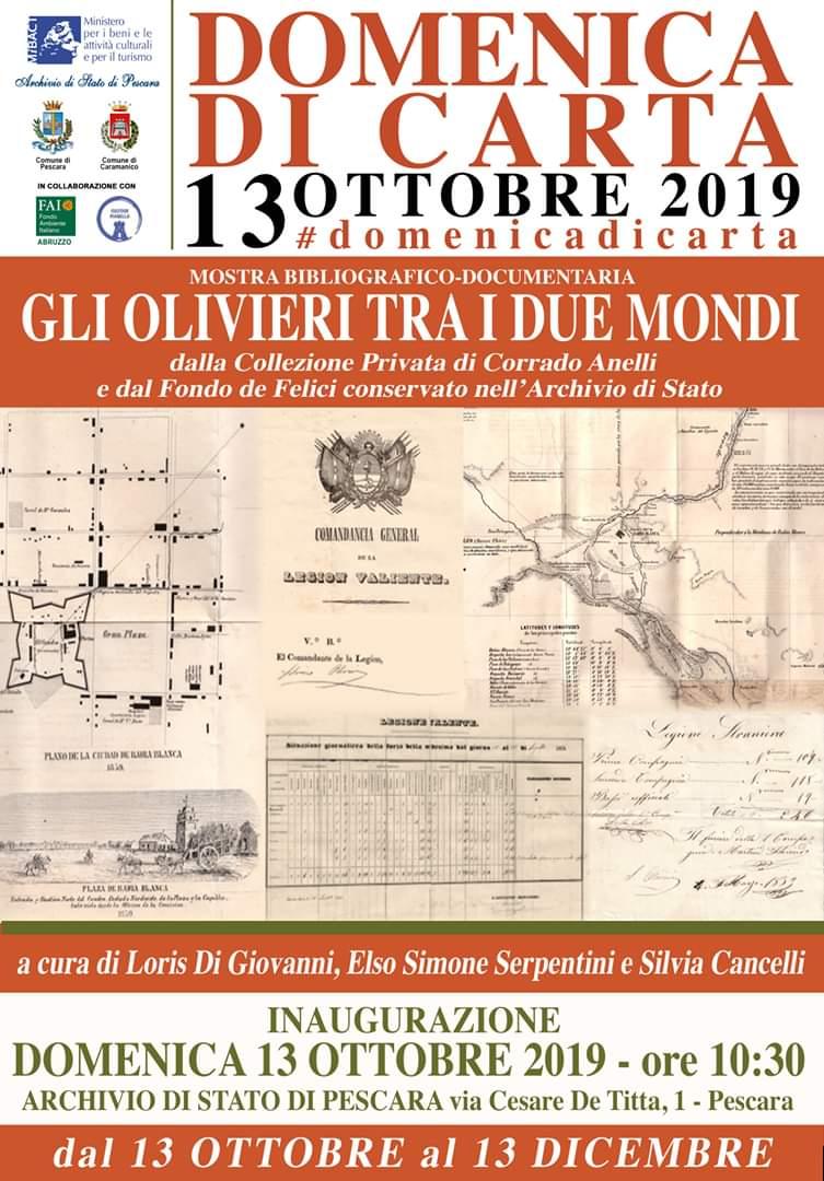 """""""Gli Olivieri tra i due Mondi"""": mostra all' archivio di Stato di Pescara"""