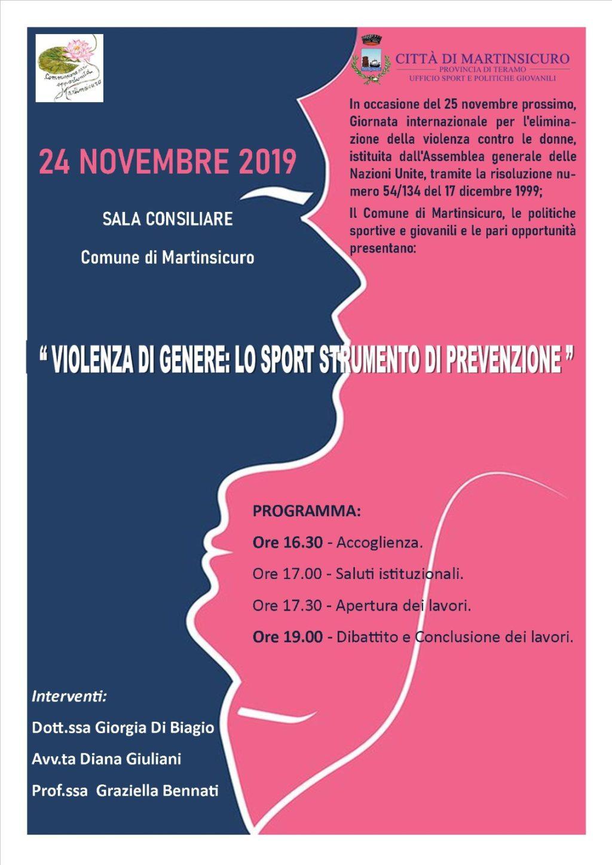 """""""Violenza di genere: lo sport strumento di prevenzione"""": l'iniziativa a Martinsicuro"""