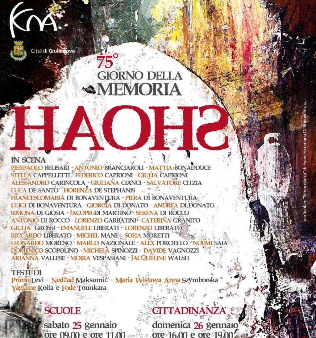 """75° Giornata della Memoria, a Giulianova la performance teatrale """"HAOHS"""""""