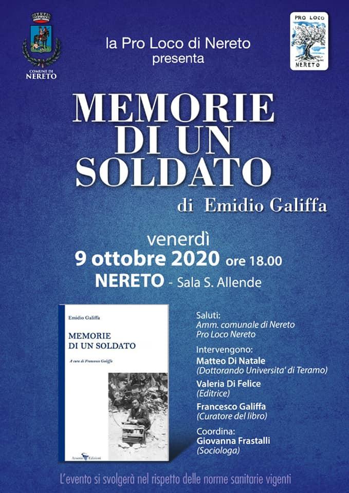 """Nereto, presentazione del libro """"Memorie di un soldato"""" di Emidio Galiffa"""