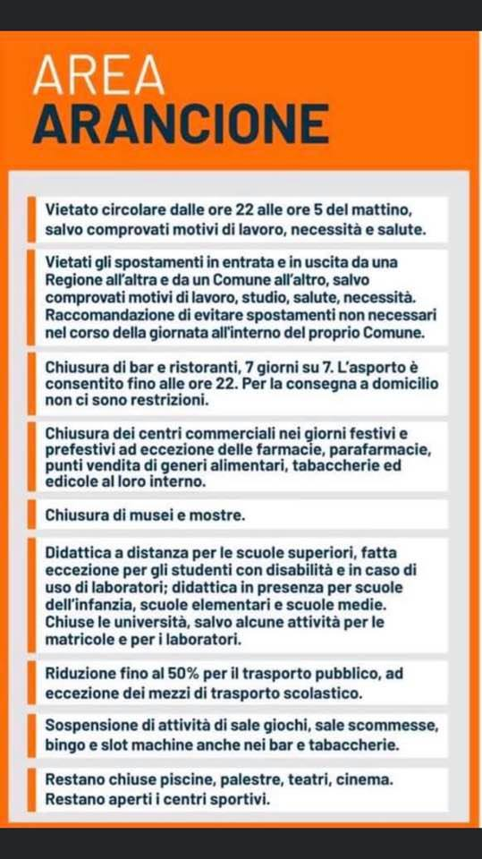 """Abruzzo da mercoledi in zona """"arancione"""""""