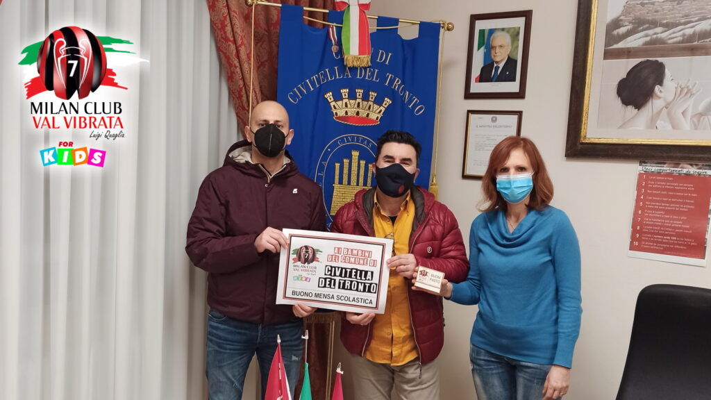 """Milan Club Val Vibrata """"Luigi Quaglia"""", donati 1400 buoni mensa ai bambini della Val Vibrata"""