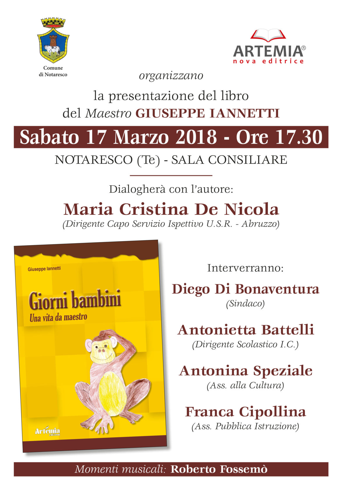"""Notaresco, presentazione del libro """"Giorni bambini""""di Giuseppe Iannetti"""