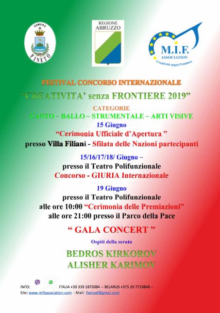 Torna a Pineto il festival concorso internazionale Creatività Senza Frontiere