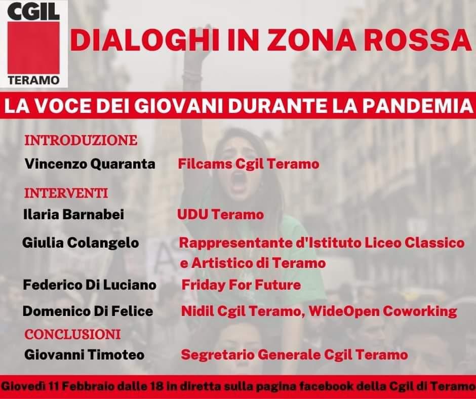 """Dialoghi in zona rossa: iniziativa su """"la voce dei giovani e la pandemia"""""""