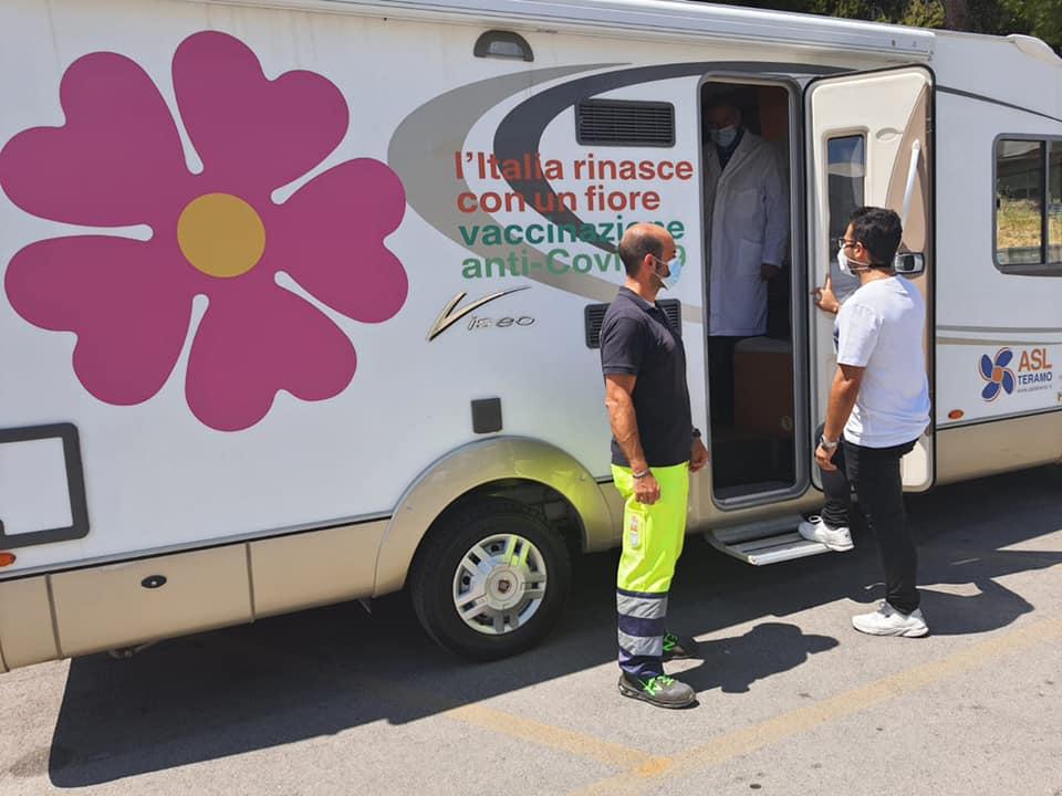 Giulianova, di nuovo in città il camper vaccinale della Asl